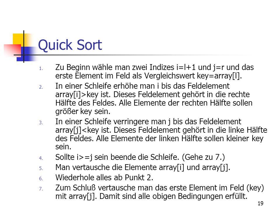 Quick SortZu Beginn wähle man zwei Indizes i=l+1 und j=r und das erste Element im Feld als Vergleichswert key=array[l].